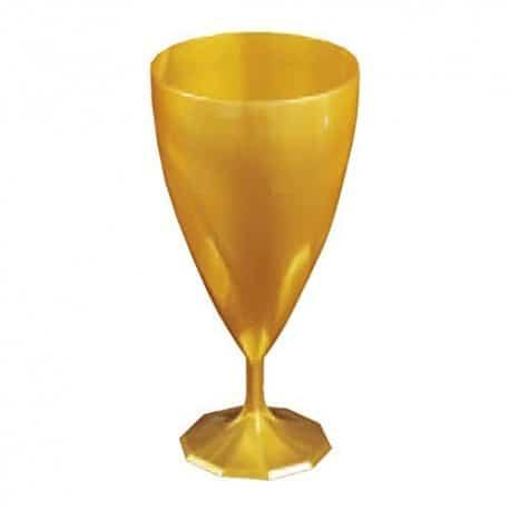 Verre à vin en plastique dur effet torsadé OR par 6