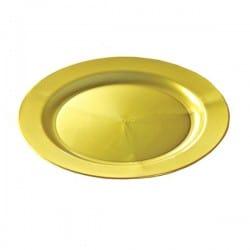 Assiette plastique rigide réutilisable ronde 24 cm Or