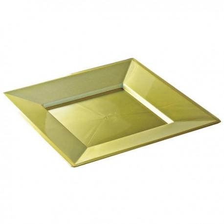Assiette plastique mariage carrée 24 cm OR