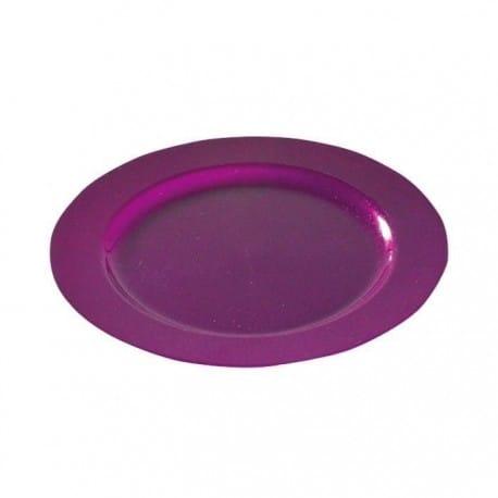 assiette plastique réutilisable ronde 19 cm pourpre pailletée Or