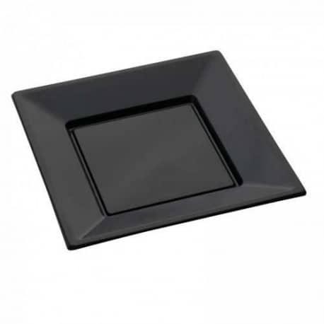 Assiette carrée 24 cm réutilisable noire par 12