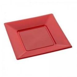 Assiette carrée réutilisable Rouge carmin 24 cm en plastique recyclable