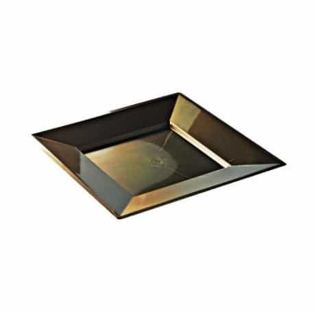 Assiette réutilisable carrée 24 cm plastique recyclable chocolat