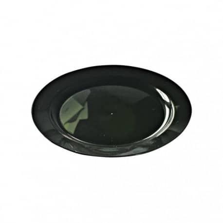 Assiette ronde jetable couleur noir nacré 24 cm par 12