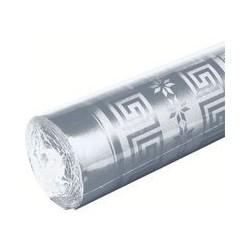 Nappe rouleau jetable en papier damassé 1.20x6 m argent