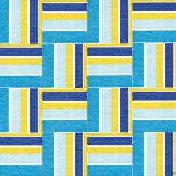 Serviette de table 40x40 cm motif raphia bleu et jaune
