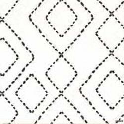 Serviette de table 40 cm blanche motif géometrique noir