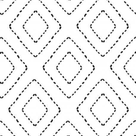 serviette cocktail Berbère 25x25cm blanche motif géométrique noir