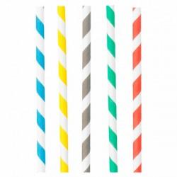 Paille en papier rayures assorties 5 couleurs par 250