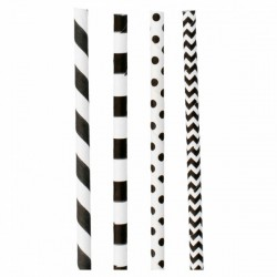Paille en papier motif franges & à pois noirs 4 modèles assortis par 200
