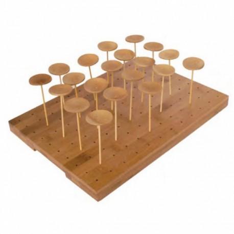 Plateau bambou réutilisable présentation 120 picks à l'unité