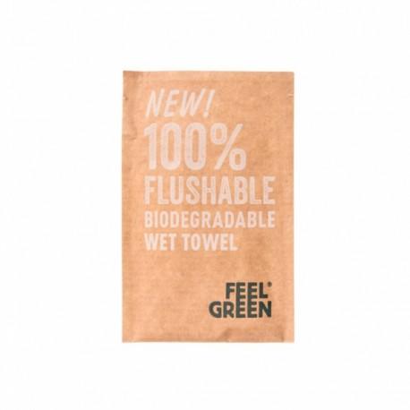 Rince-doigts 100% flushable biodégradable en sachet individuel
