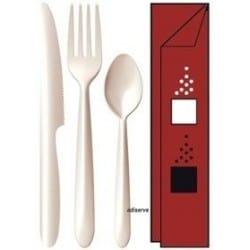 Kit 6/1 Starck couv. ivoires + serv. bordeaux par 50