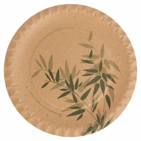 Assiette carton récyclé, ronde 18 cm décor feuilles de bambou