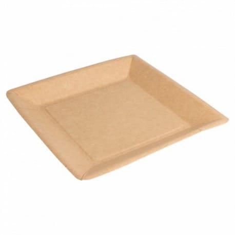 Assiette carrée bio-laqué naturel 18x18 cm biodégradable