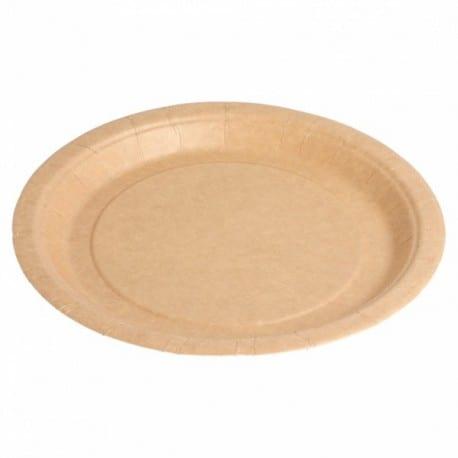 Assiette carton bio-laqué recyclable et biodégradable coloris naturel