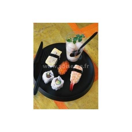 Assiette lux by starck ronde 23 cm noire par 6