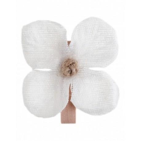 Orchidée blanche en tissu sur pince en bois naturel par 6
