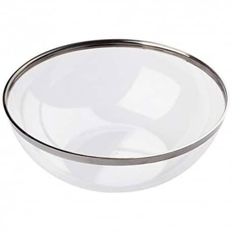 Coupelle cristal réutilisable de 400 ml Ø 14 cm liseré argent par 8