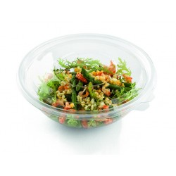 Saladier plastique avec couvercle cristal réutilisable de 1,5L par 3