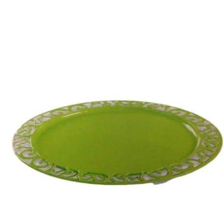 Sous-assiette réutilisable recyclable ronde vert anis 30 cm 4P