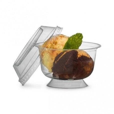 Coupelle à dessert sur pied ronde transparente 200 ml